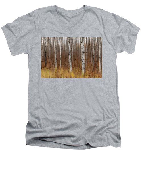 Birch Trees Abstract #2 Men's V-Neck T-Shirt by Patti Deters