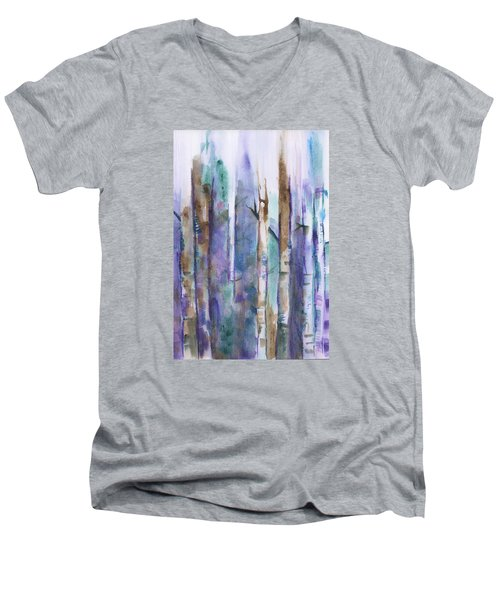 Birch Trees Abstract Men's V-Neck T-Shirt by Frank Bright