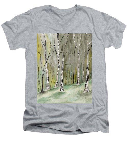 Birches Before Spring Men's V-Neck T-Shirt