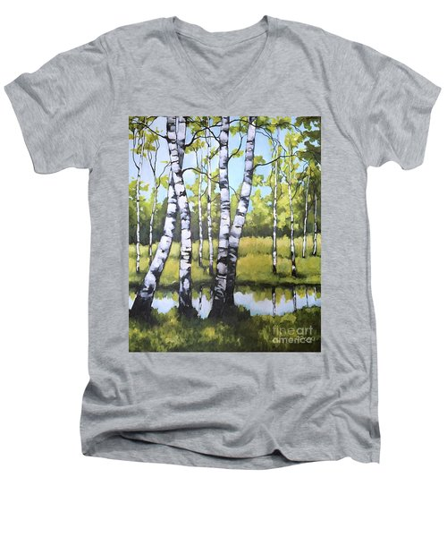 Birches In Spring Mood Men's V-Neck T-Shirt by Inese Poga
