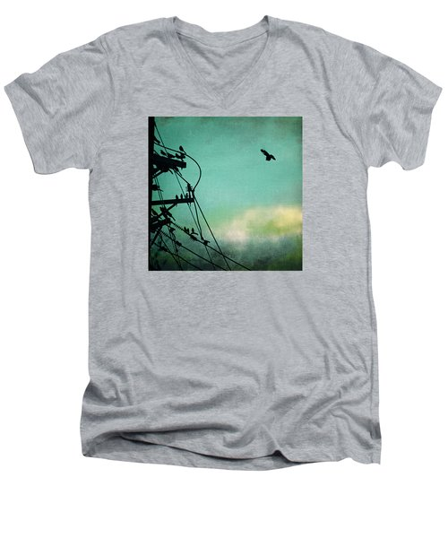 Men's V-Neck T-Shirt featuring the photograph Bird City Revisited by Trish Mistric