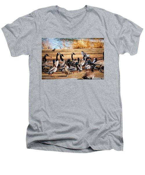 Men's V-Neck T-Shirt featuring the photograph Bird Gang Wars by Sumoflam Photography