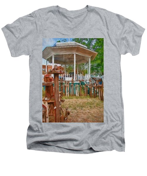 Men's V-Neck T-Shirt featuring the photograph Bird Houses by Trey Foerster