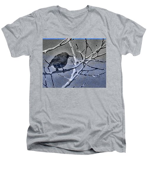 Bird In Digital Blue Men's V-Neck T-Shirt