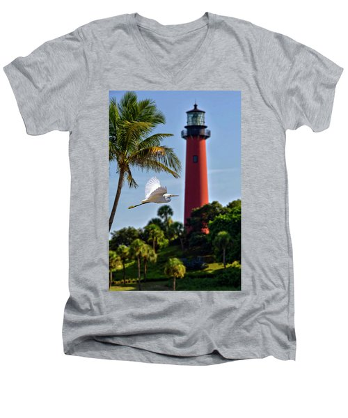 Bird In Flight Under Jupiter Lighthouse, Florida Men's V-Neck T-Shirt