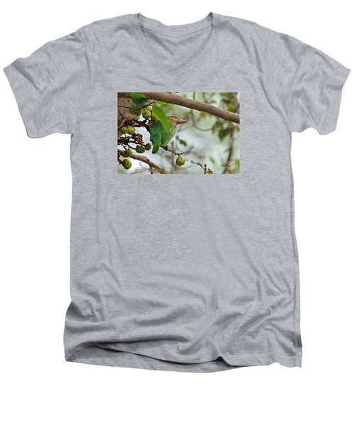 Men's V-Neck T-Shirt featuring the photograph Bird In The Bush by Pravine Chester