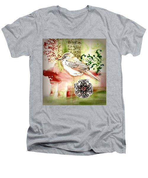 Men's V-Neck T-Shirt featuring the mixed media Bird Love by Rose Legge
