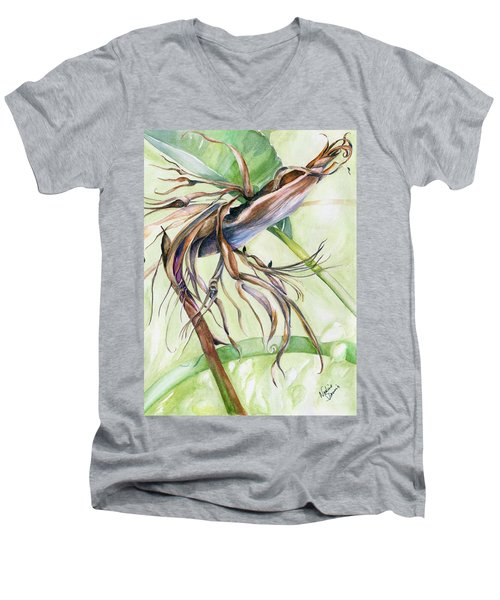 Bird Of Paradise, A Faded Beauty Men's V-Neck T-Shirt by Nadine Dennis
