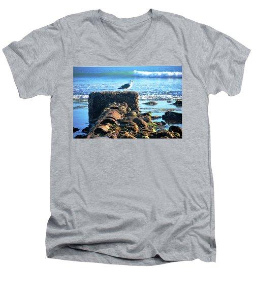 Bird On Perch At Beach Men's V-Neck T-Shirt by Matt Harang