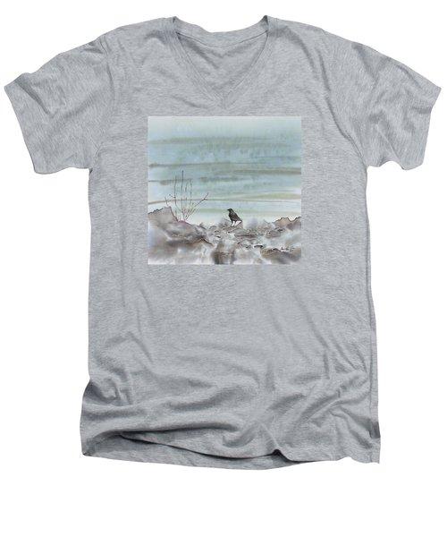 Bird On The Shore Men's V-Neck T-Shirt by Carolyn Doe
