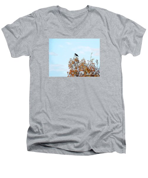 Bird On Tree Men's V-Neck T-Shirt by Craig Walters