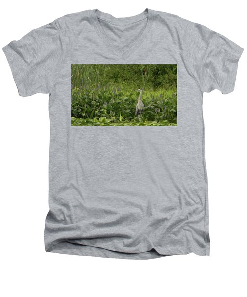 Bird Waiting Men's V-Neck T-Shirt by Mark Minier