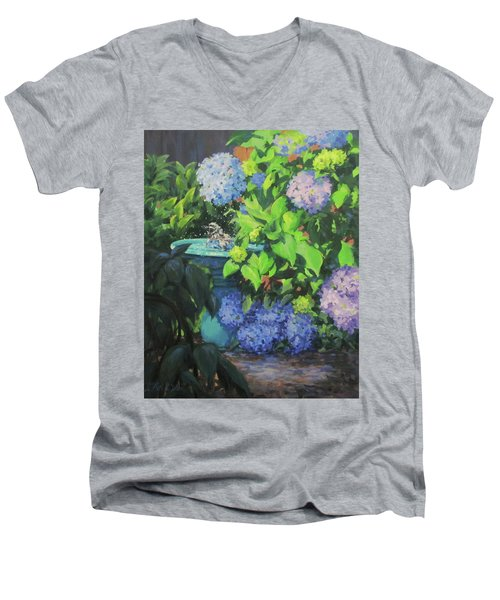 Birdbath And Blossoms Men's V-Neck T-Shirt