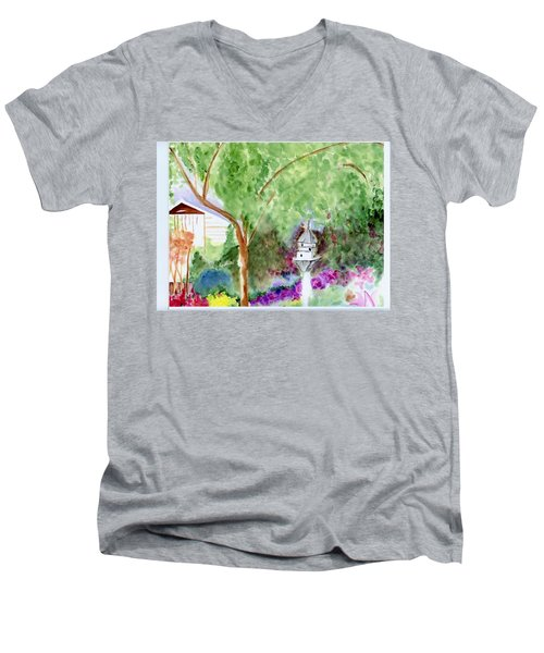 Men's V-Neck T-Shirt featuring the painting Birdhouse by Jamie Frier
