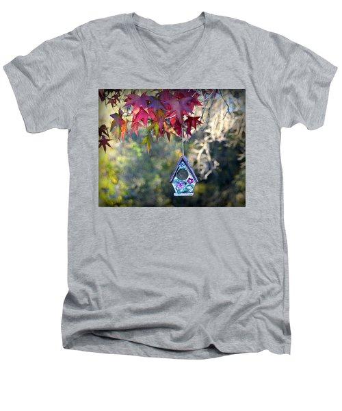Men's V-Neck T-Shirt featuring the photograph Birdhouse Under The Autumn Leaves by AJ Schibig