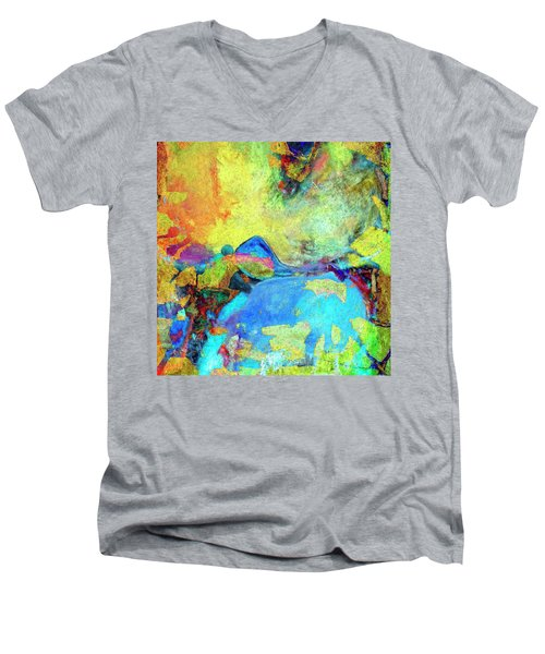 Men's V-Neck T-Shirt featuring the painting Birdland by Dominic Piperata