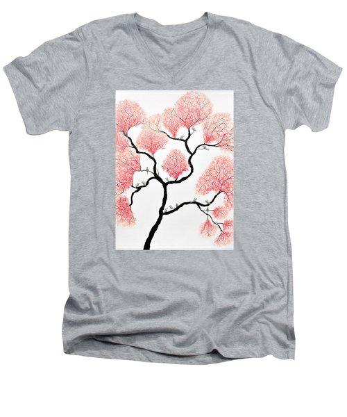 Birds And Flowers Men's V-Neck T-Shirt