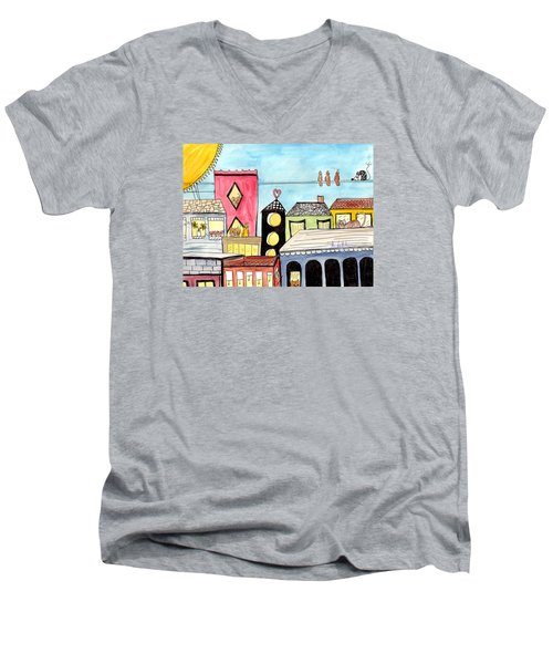 Birds And Mouse On A Wire Men's V-Neck T-Shirt by Lou Belcher