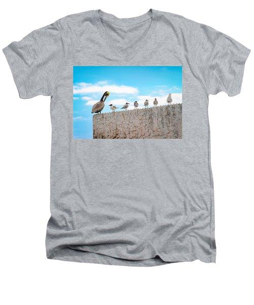 Birds Catching Up On News Men's V-Neck T-Shirt