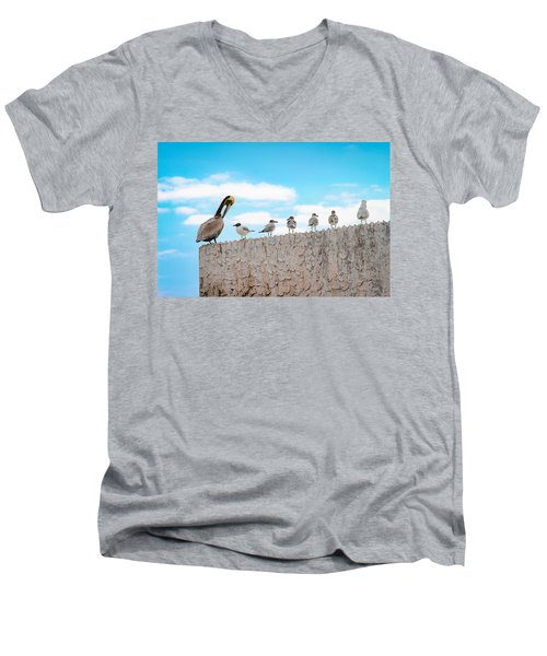 Birds Catching Up On News Men's V-Neck T-Shirt