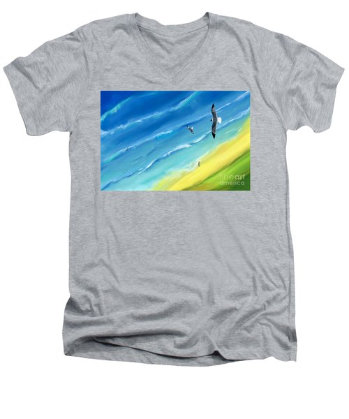Bird's-eye Above Sea Men's V-Neck T-Shirt