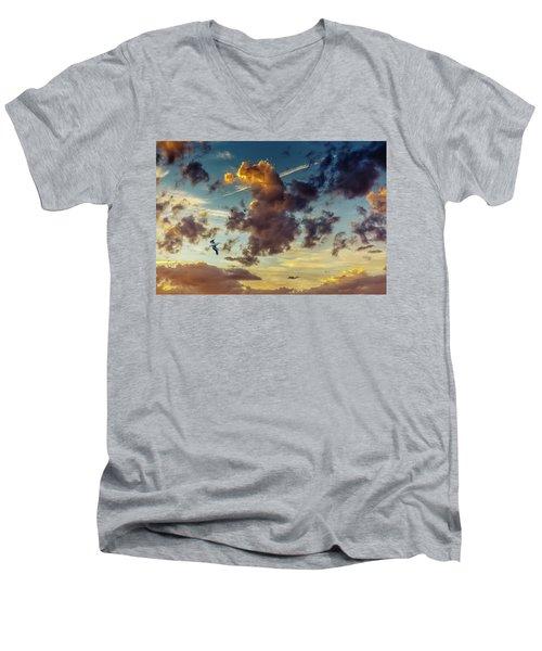 Birds In Flight At Sunset Men's V-Neck T-Shirt