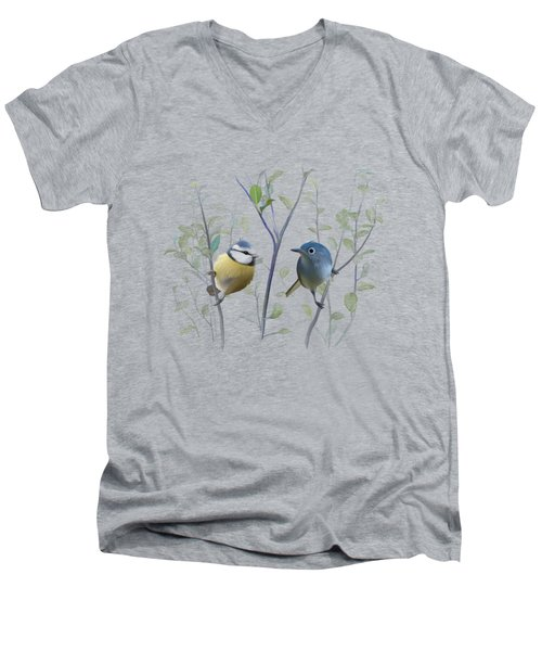 Birds In Tree Men's V-Neck T-Shirt by Ivana
