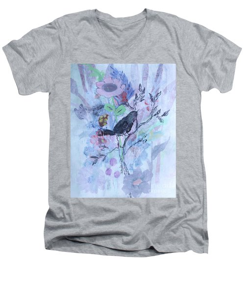 Men's V-Neck T-Shirt featuring the painting Birds Just Wanna Have Fun by Robin Maria Pedrero