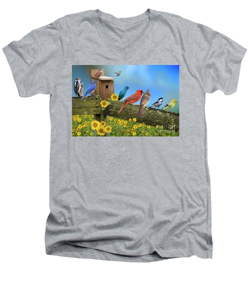 Men's V-Neck T-Shirt featuring the photograph Birds Of A Feather by Bonnie Barry