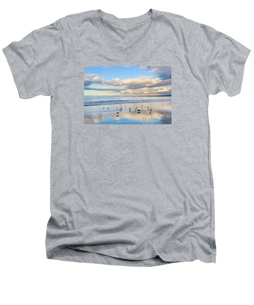 Birds On The Beach Men's V-Neck T-Shirt by Derek Dean