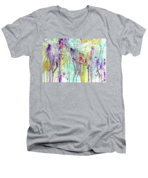 Birds On The Wire - Colorful Bright Modern Abstract Art Painting Men's V-Neck T-Shirt