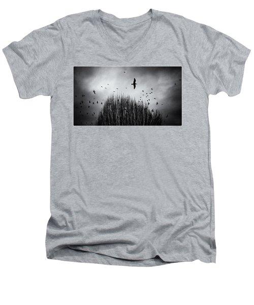 Birds Over Bush Men's V-Neck T-Shirt by Peter v Quenter