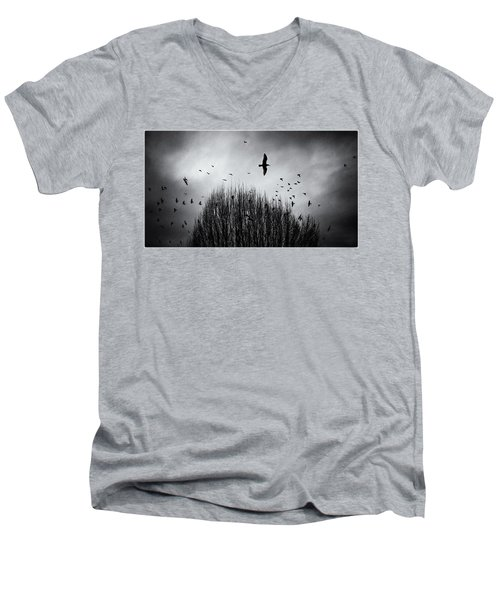 Birds Over Bush Men's V-Neck T-Shirt