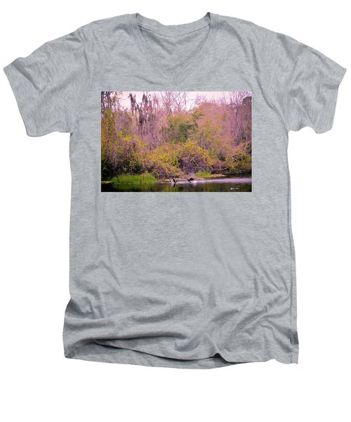 Men's V-Neck T-Shirt featuring the photograph Birds Playing In The Pond 1 by Madeline Ellis