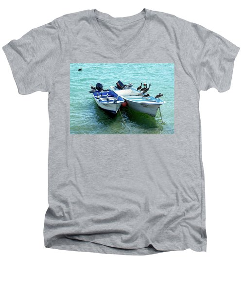 Birds Sunbathing  Men's V-Neck T-Shirt by Haleh Mahbod