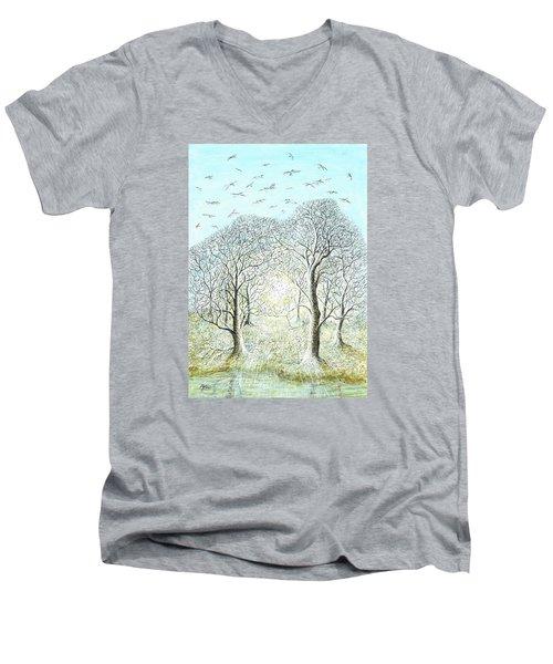 Birds Swirl Men's V-Neck T-Shirt by Charles Cater