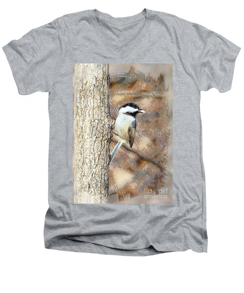Men's V-Neck T-Shirt featuring the photograph Bird@seed by Robert Pearson