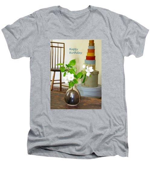 Birthday Apple Blossoms Men's V-Neck T-Shirt by Deborah Dendler