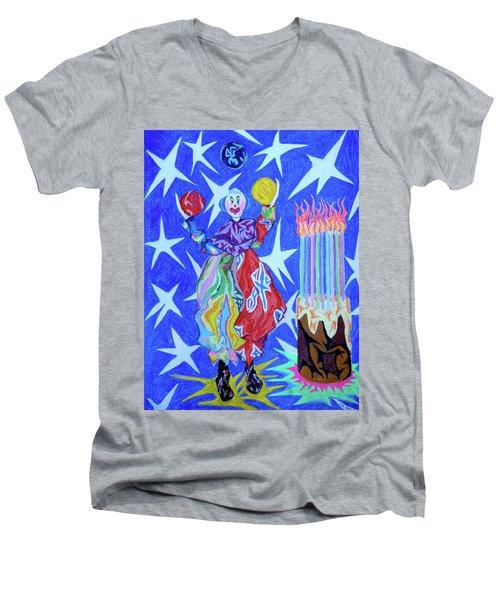 Birthday Clown Men's V-Neck T-Shirt by Robert SORENSEN