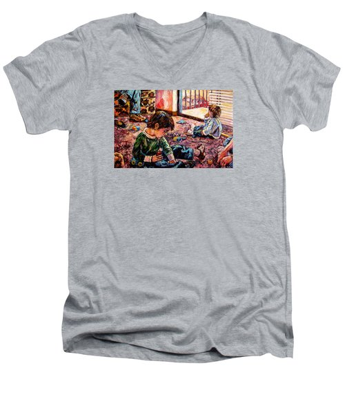 Men's V-Neck T-Shirt featuring the painting Birthday Party Or A Childs View by Kendall Kessler