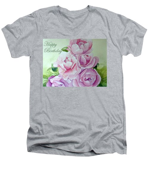 Birthday Peonies Men's V-Neck T-Shirt by Laurel Best