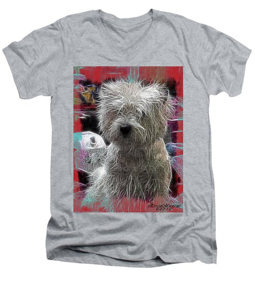 Men's V-Neck T-Shirt featuring the photograph Bishon Frise by EricaMaxine  Price