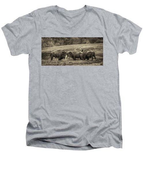 Men's V-Neck T-Shirt featuring the photograph Bison 1 - Pano by Joye Ardyn Durham