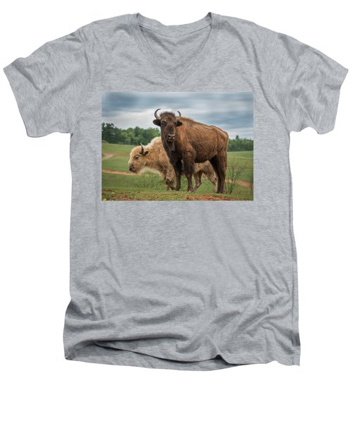 Men's V-Neck T-Shirt featuring the photograph Bison 10 by Joye Ardyn Durham