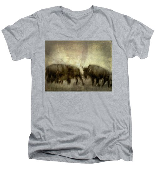 Men's V-Neck T-Shirt featuring the photograph Bison 3 by Joye Ardyn Durham