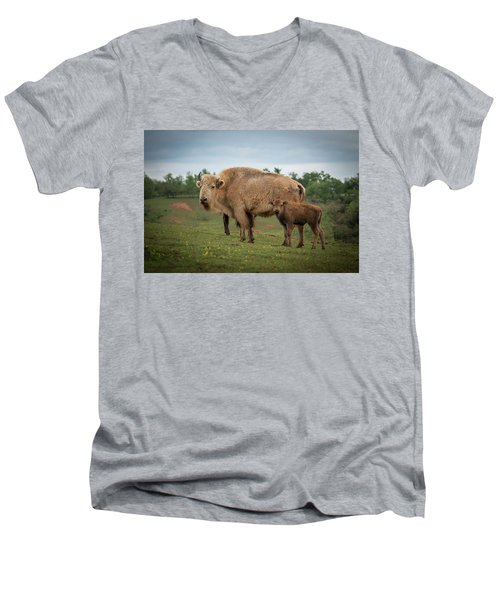 Men's V-Neck T-Shirt featuring the photograph Bison 7 by Joye Ardyn Durham