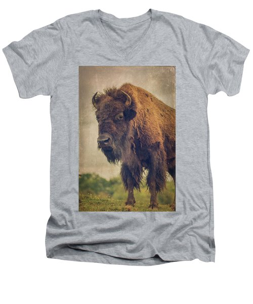 Men's V-Neck T-Shirt featuring the photograph Bison 8 by Joye Ardyn Durham