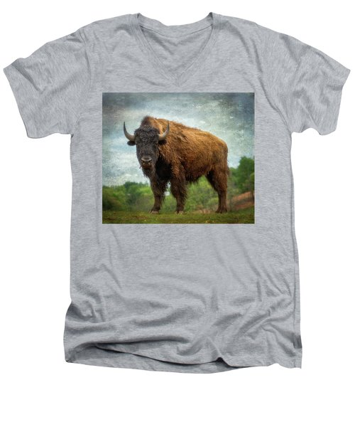 Men's V-Neck T-Shirt featuring the photograph Bison 9 by Joye Ardyn Durham