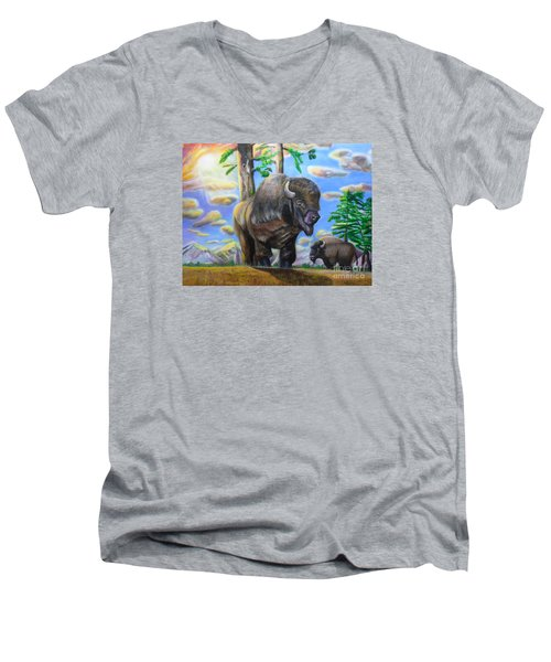 Bison Acrylic Painting Men's V-Neck T-Shirt