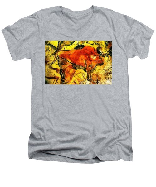 Bison Men's V-Neck T-Shirt by Anton Kalinichev